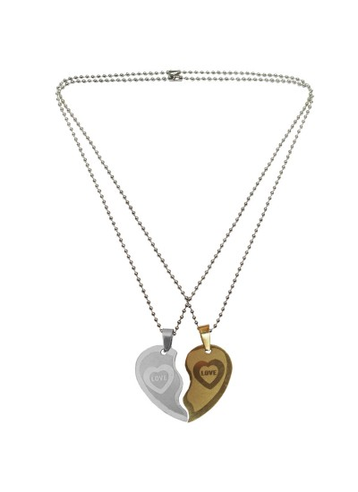 Gold Silver Couple Jewellery Broken Heart Dual Pendant