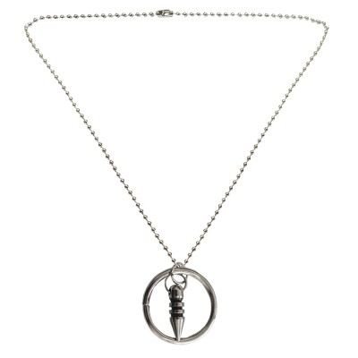 Menjewell New Collection Silver Ring And Bullet Shape Design Fashion Pendant