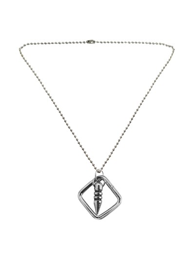 Menjewell New Collection Silver Square And Bullet Shape Design Fashion Pendant