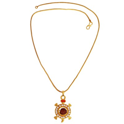 Menjewell New Collection Gold Rudraksha With Tortoise Design Rudraksha Pendant