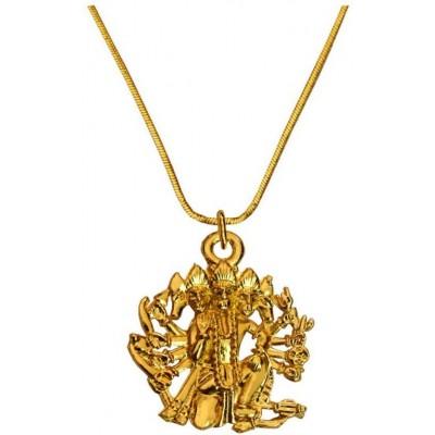 Menjewell Gold Toned Panchmukhi Hanuman Pendant