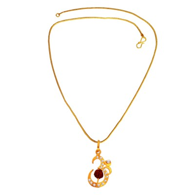 Menjewell  Gold:Brown  Rudraksha Studded Lord Shiva Gold Plated Om