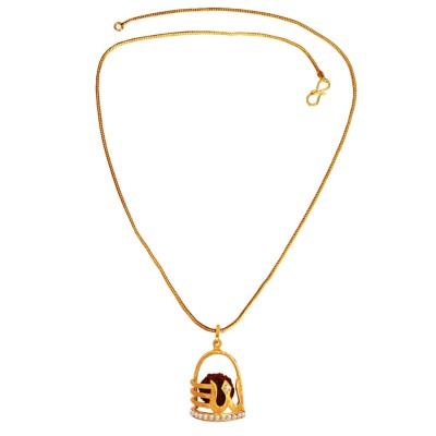 Menjewell   Gold:Brown  Rudraksha Studded Lord Shiva Gold Plated Shivlingm & Trishul