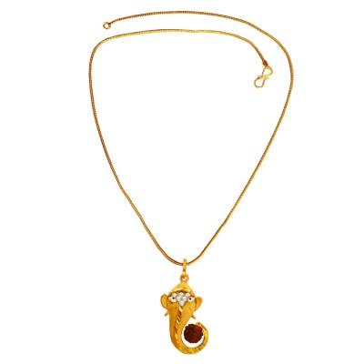 Menjewell   Gold:Brown  Rudraksha Studded Lord Vakratunda Gold Plated Ganesha