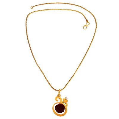 Menjewell  Gold:Brown  Rudraksha Studded Lord Shiva Gold Plated Om Pendant