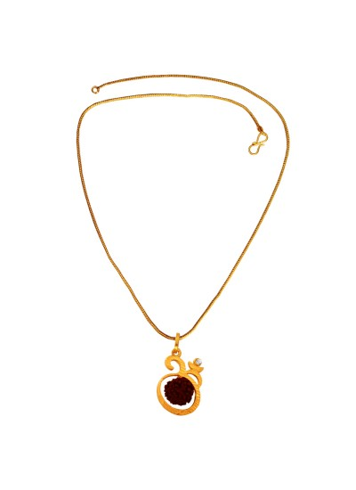 Menjewell  Gold:Brown  Rudraksha Studded Lord Shiva Gold Plated Om Pendant