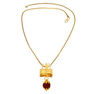 Menjewell Gold:Brown  Rudraksha Studded Lord Shiva Gold Plated Trishula Damru  Pendant