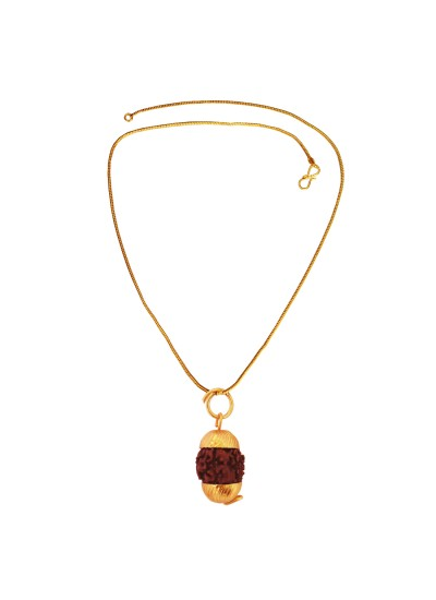 Menjewell  Gold::Brown  Gold Cap Rudrksha With Chain Pendant