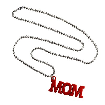 Menjewell Mothers Day Special  Red:Silver  'MOM' Name Design Pendant