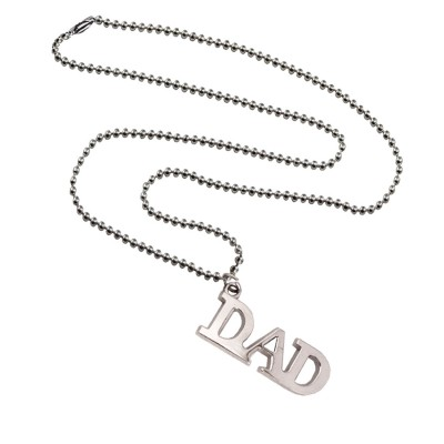 Menjewell Father Day Special  Silver  'DAD' Name Design Pendant