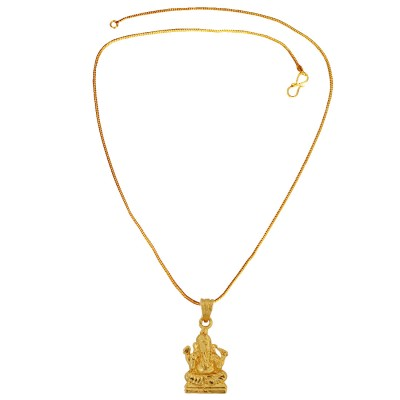 Menjewell Spiritual Collection Gold Plated Vighnaharta Ganesha/Ganpati Religious God Mini Pendant with Chain for Men & Boys