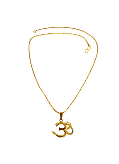 Menjewell Spiritual Collection Gold Plated Om Religious God Mini Pendant with Chain for Men & Boys