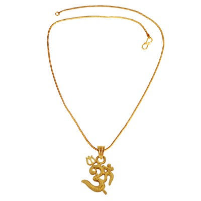 Menjewell Spiritual Collection Gold Plated Om With Trishul Mini Religious God Mini Pendant with Chain for Men & Boys