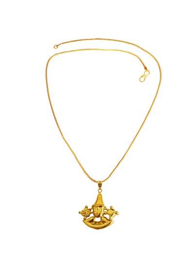 Menjewell Spiritual Collection Gold Plated South Indian Lord Venkateswara Tirupati Balaji Tirumala God Mini Pendant with Chain for Men & Boys