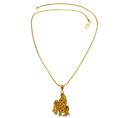 Menjewell Spiritual Collection Gold Plated Shri Krishna Playing Flute Mini Pendant with Chain for Men & Boys