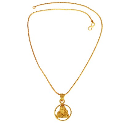 Menjewell Spiritual Collection Gold Plated Lord Sai Baba Mini Pendant with Chain for Men & Boys