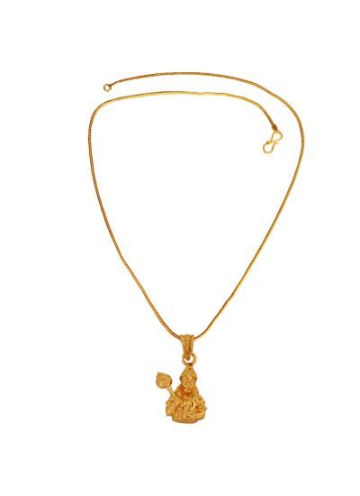 Menjewell Religious Jewellery Antique Gold Plated Pawan Putra Hanuman/ Bajrang Bali Mini Pendant With Chain For Men & Boy