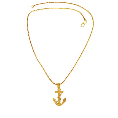 Menjewell Hollywood Movie Inspired Pirates of the Caribbean Gold Plated Nautical Helm Anchor With Rope Design Pendant For Men & Boy
