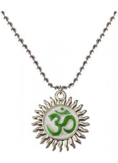 Silver::Green  Om  Chain Pendant