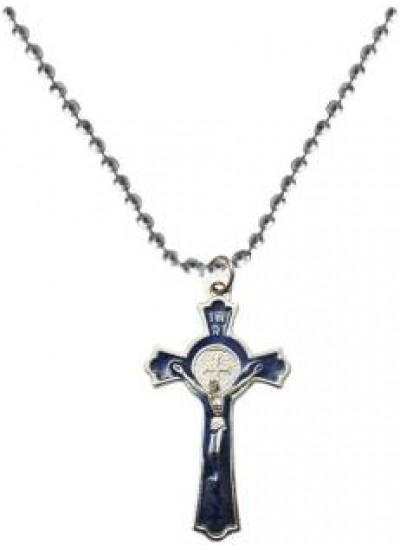 Elegant  Blue  Jesus Christ Cross Pendant