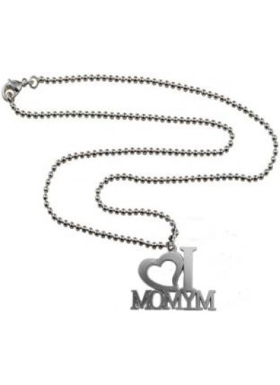 Silver  I LOVE MY MOM Pendant