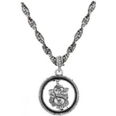 Black::Silver  Shri Ganesha Pendant
