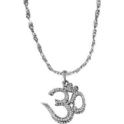 Silver  Stone studded OM Pendant