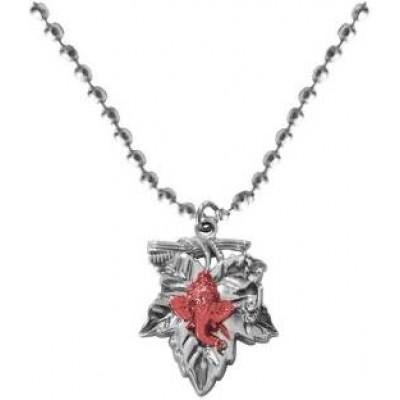 Elegant  Silver::Pink  God Ganesha In Leaf Design Pendant