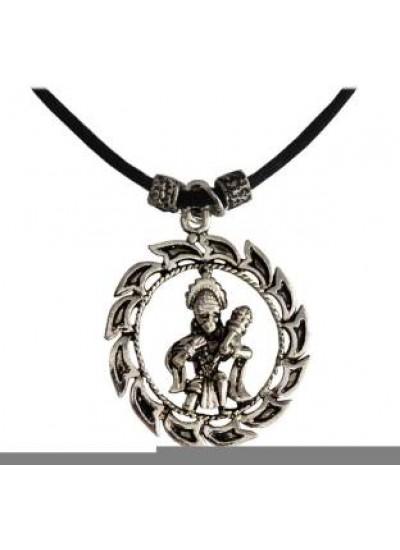 Silver  Round Hanumanji Chain Pendant