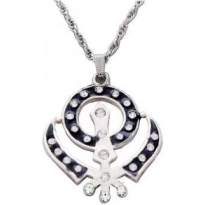 Elegant  Black  Khanda Chain Pendant