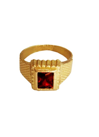Menjewell Classic Collection Red::Gold Zodiac Gemstone In Square - Shape Design Alloy Finger Ring (Size : 17)
