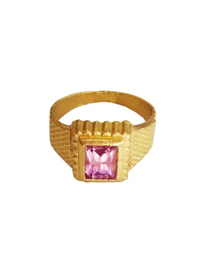 Menjewell Classic Collection Purple::Gold Amethyst Gemstone In Square - Shape Design Alloy Figure  Ring