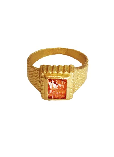 Menjewell Classic Collection Orange::Gold Gemstone In Square - Shape Design Alloy Figure Ring