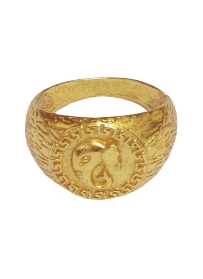 Menjewell Classic Collection Gold Lord Ganesha In Round-shape Design Religious Figure Ring For Men & Boys