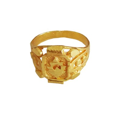 Menjewell Classic Collection Gold Flower Design Alloy figure Ring For Men & Boys
