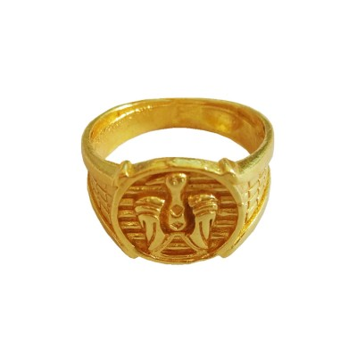 Memjewell Classic Collection Gold Eagle Design In Round - Shape Religious Finger Ring For Men & Boys