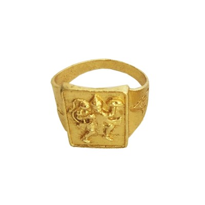 Menjewell Classic Collection Gold Pawan Putra Hanuman/Bajarang Bali In Square Shape Design Ring For Men & Boys