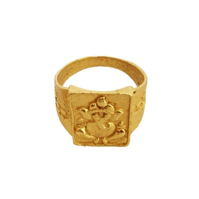 Menjewell Classic Collection Gold Lord Ganesha In Square-shape Design Religious Finger Ring For Men & Boys
