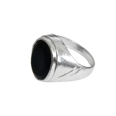 Menjewell Classic Collection Black::Silver Oval - Shape Stone Design Alloy Fingure Ring For Men & Boys
