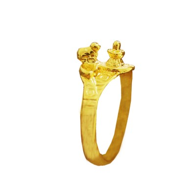 Menjewell New Spiritual Collection High Polished Gold Plated Shivling With Nandi Design Ring