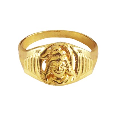 Menjewell New Spiritual Collection High Polished Gold Plated Lord Shiva Design Ring