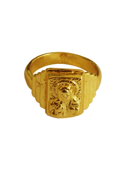 Menjewell New Spiritual Collection High Polished Gold Plated Lord Yeshu Christ Design Ring