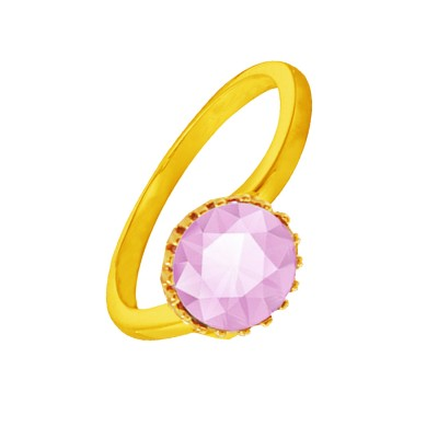 Menjewell Elegant Classic & Designer New Collection Gold::Pink Brilliant Cut Round Simulated Stone Studded Zig Zag Design Ring