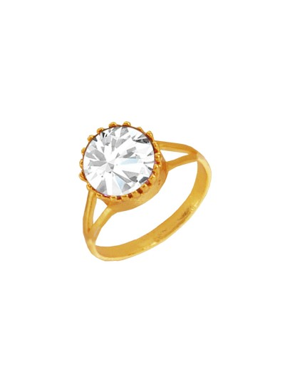 Menjewell Elegant Classic & Designer New Collection Gold::White Brilliant Cut Round Simulated Stone Studded Design Ring