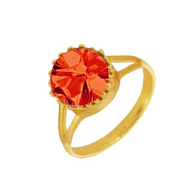 Menjewell Elegant Classic & Designer New Collection Gold::Red Brilliant Cut Round Simulated Stone Studded Design Ring