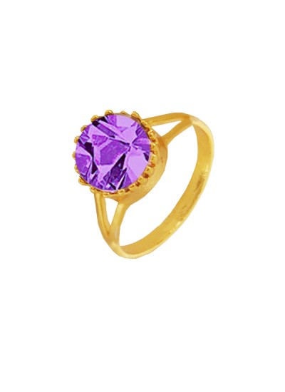 Menjewell Elegant Classic & Designer New Collection Gold::Purple Brilliant Cut Round Simulated Stone Studded Design Ring
