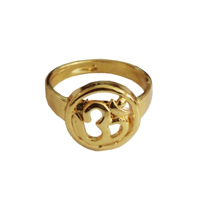 Menjewell New Spiritual Collection Gold Lord Shiva OM in Round Shape Ring