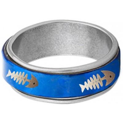 Elegant  Blue  Fish Bone Fashion Thumb Ring