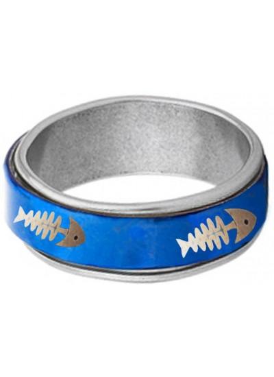 Elegant  Blue  Fish Bone Fashion Thumb Ring