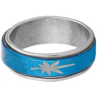 Classic   Silver::Blue  Floral Shape Design Thumb Ring